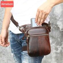 Aimeison Genuine Leather Waist Bag men Waist Pack Waist Bag Funny Pack Belt Bag Men Chain Waist Bag For Phone Pouch