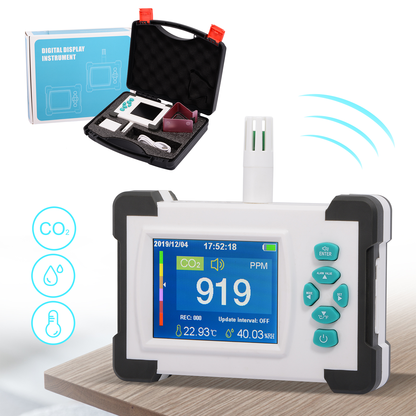 FOSHIO Carbon Dioxide Detector Meter Portable CO2 Monitor Sensor Air Quality Monitor Public Industrial Agriculture Gas Air Meter