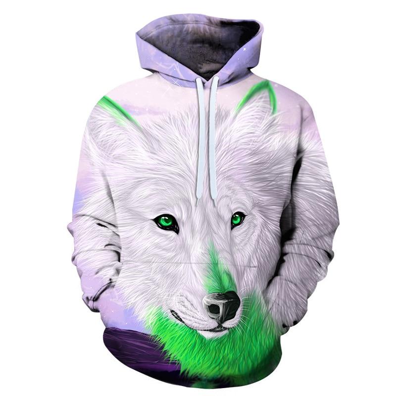Mens 3D Hoodie Colorful White Wolf Print Hooded Pullover Cool Sweatshirt
