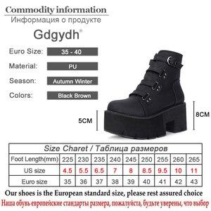 Image 5 - Gdgydh Lente Herfst Enkellaarsjes Platform Laarzen Rubberen Zool Gesp Zwart Lederen Pu Hoge Hakken Schoenen Vrouw Comfortabele