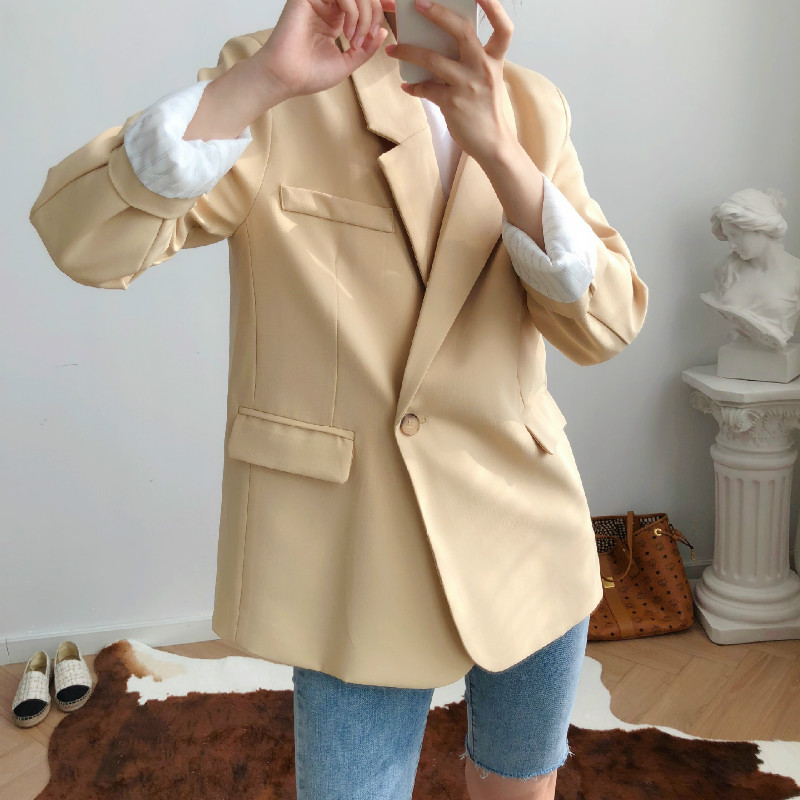 Autumn New Ladies Suit Blazer Fashion Loose Full Sleeve Yellow Women's Jacket Large Size High Quality Women's Suit 2019