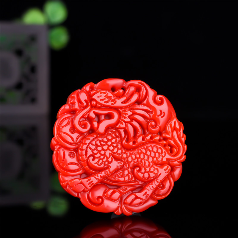 Chinese Red Jade Kirin Pendant Dragon Necklace Jewellery Hand-Carved Relax Healing Women Man Luck Gift Free Rope