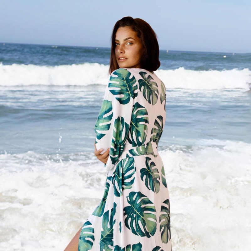 2019 Fashion Dicetak Penutup-Up Seksi Musim Panas Pantai Gaun Katun Tunik Wanita Beachwear Swimsuit Cover Up Bikini Wrap Sarung