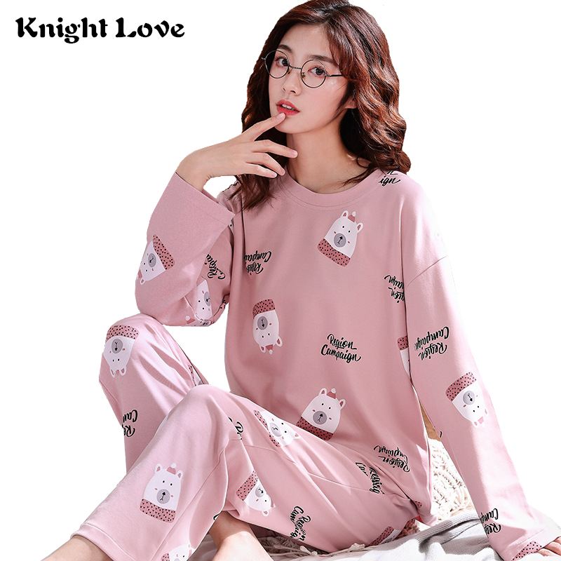 21 Color Women Pajamas Set Round Neck Ladies Cute Cartoon Printed Long Sleeve Cotton Sleepwear Female Pyjamas Home Clothes