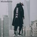 Японский Свитшот miхалкова, мужские толстовки оверсайз, Длинная накидка в стиле хип-хоп, Готическая верхняя одежда, уличная одежда, пальто в ...