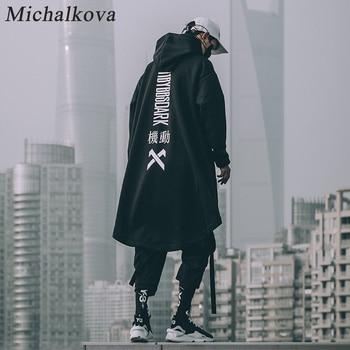 michalkova japanese sweatshirt Mens Oversize Hoodies Long Cloak Hip Hop Gothic Outwear Streetwear Coat Harajuku Style Male Tops