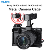 Vijim Universal for Sony A6000 Series Metal Camera Cage Rig W Cold Shoe for Sony A6100 A6300 A6400 A6500 DSLR Camera Accessories