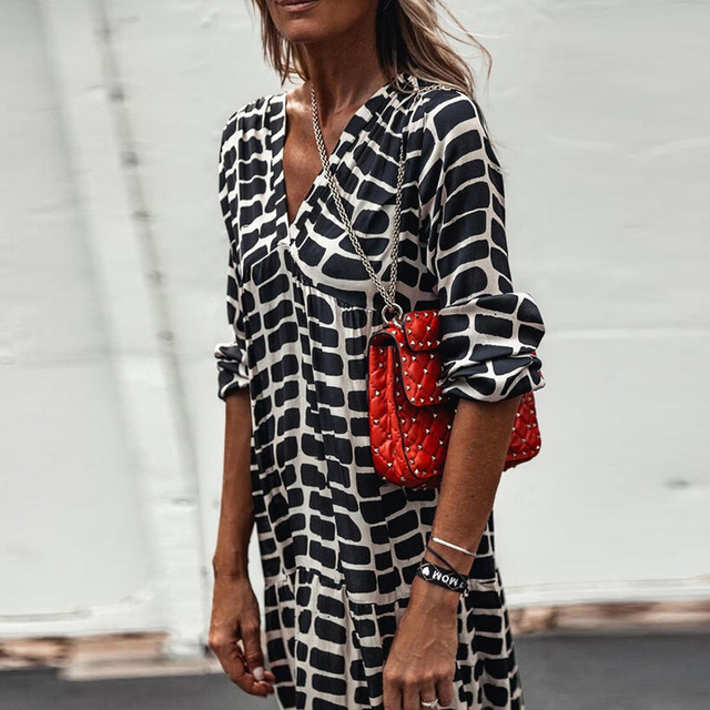 2021 Holidays Boho Dress Women Casual Chic Print Loose Dresses V Neck A-Line Long Sleeve Maxi Dress Female Vestido De Mujer 2