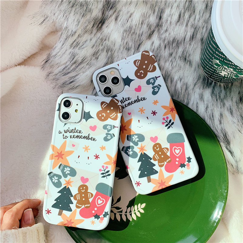 Christmas White Snowflake Gingerbread Man Xmas Tree Cell Phone Case Cover For Iphone 11 Pro Max Xs Max Xr Xs X 7 8 Plus