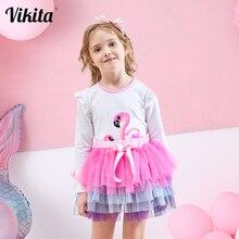 Vikita meninas conjuntos de roupas flamingo dos desenhos animados impresso manga longa t shirts + tutu vestido 2 peças crianças conjunto resetlh4591