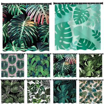 New Style Shower Curtain Tropical Rainforest Plant Pattern Polyester Shower Curtain Waterproof Shower Curtain With Hook