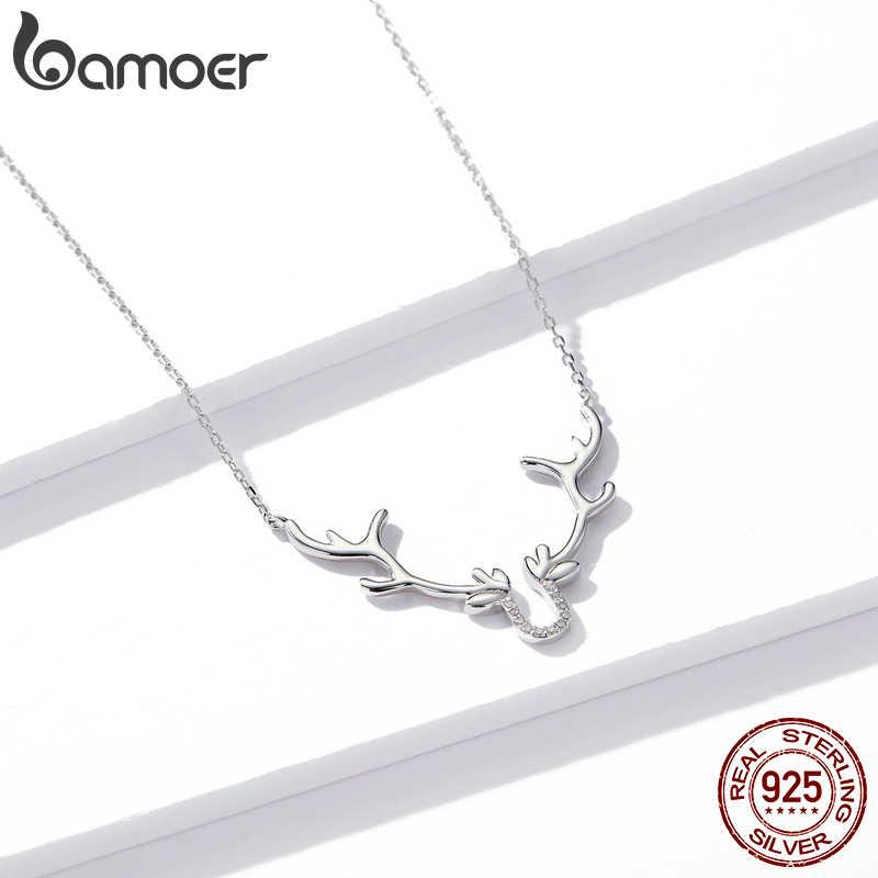 Bamoer hakiki 925 ayar gümüş Elk kısa zincir kolye kadınlar için sevimli hayvan hediye takı aksesuarları 2020 yeni BSN158