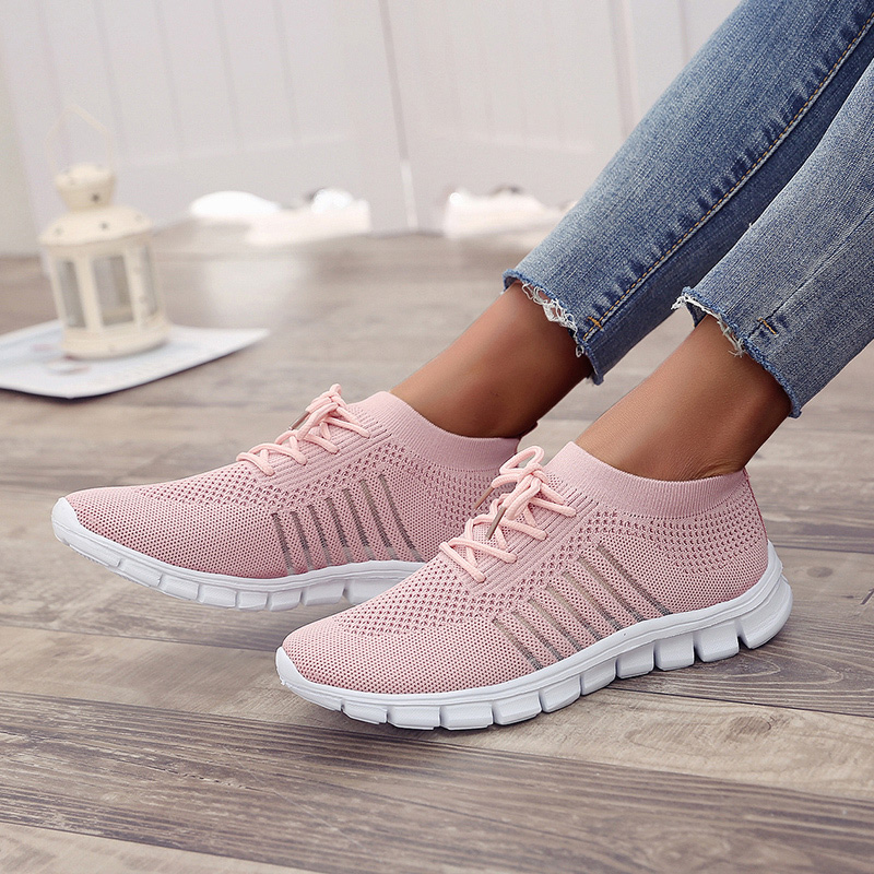 Sneakers Women Vulcanized Lace Up Woman Flat Round Toe Women's Solid Mesh Female Ladies Shoes Loafer Big Size 43