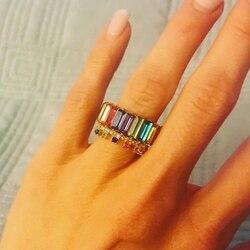 Nowe mody bagietka CZ pierścień tęczy dla kobiet dziewczyn obrączka zaręczynowa bagietka cyrkonia pierścionki Boho biżuteria panny młodej