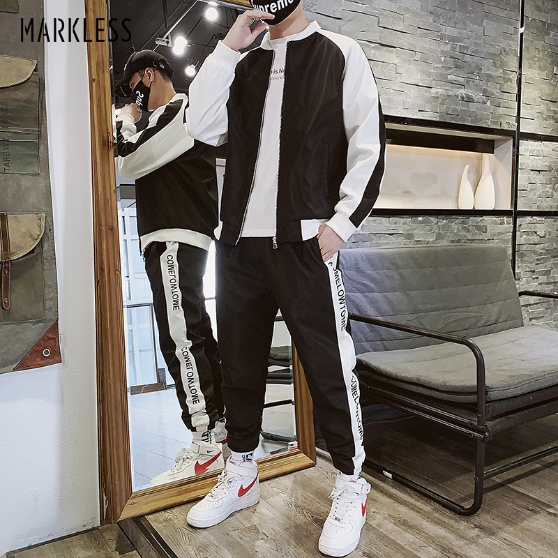Markless Mens Sports Stand Collar Suits Fashion Soft Polyester Jackets Regular Fit Pants Ht001