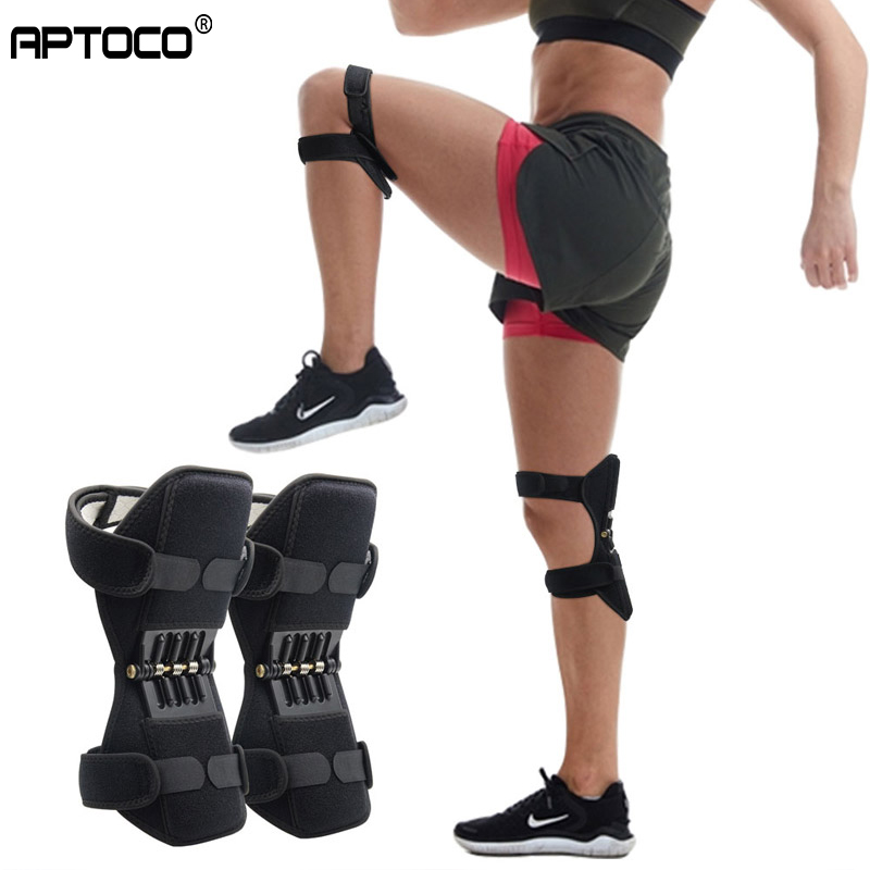 Aptoco Breathable Non-slip Joint Support Knee Pads  Powerful Rebound Spring Force Knee Booster Power Knee Pads Care Tool
