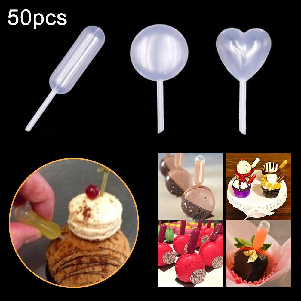50Pcs 4ml Disposable Heart Round Shape Liquid Dropper Cupcakes Transfer Pipettes Kitchen Bakeware