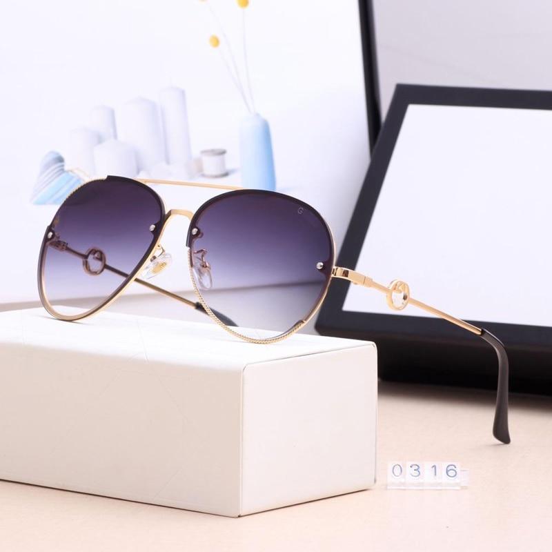 POLICE Luxury Fashion Sunglasses Women Design Brand Pilot SunGlasses Metal Farme Gradient Shades Cutting Lens Goggles UV400