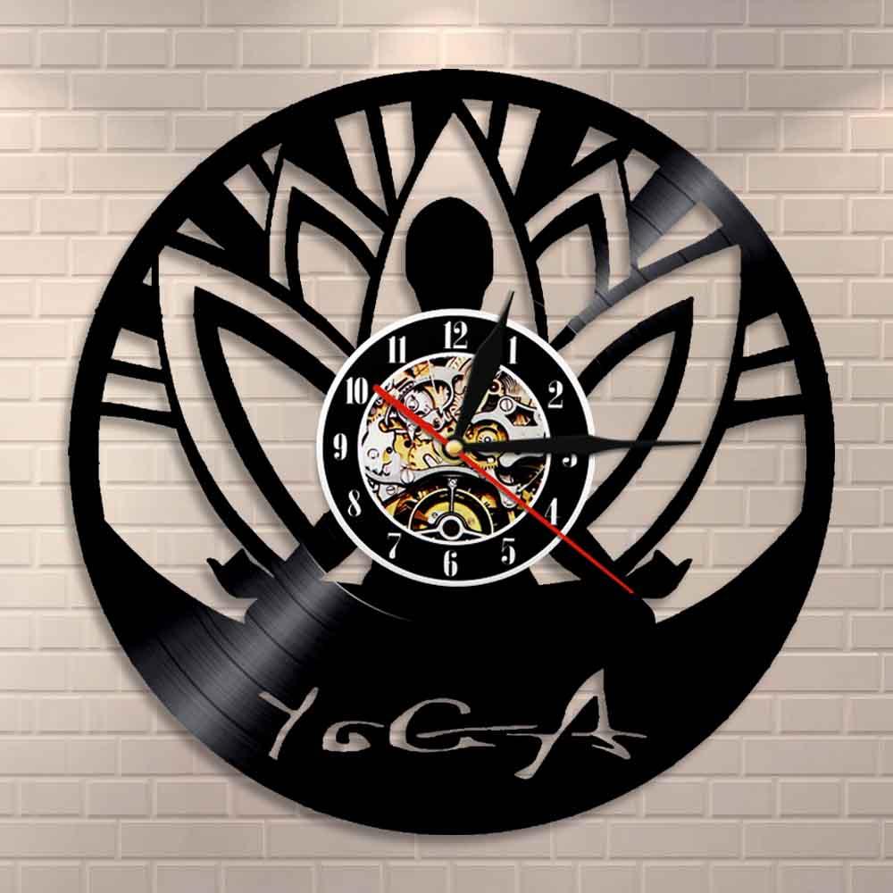 Om Yoga Studio Wall Clock Zen Meditation Buddha Minimalist Align Yourself Spiritual Yogi Vinyl Record Wall Clock Modern Design