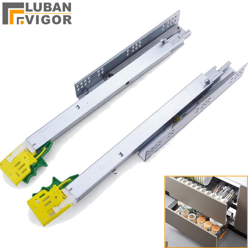 New Design,3 Sections Bottom Mounting Hidden Damping Slide,with Disassembly Device, Cabinet Drawer Buffer Track Guide,Quiet