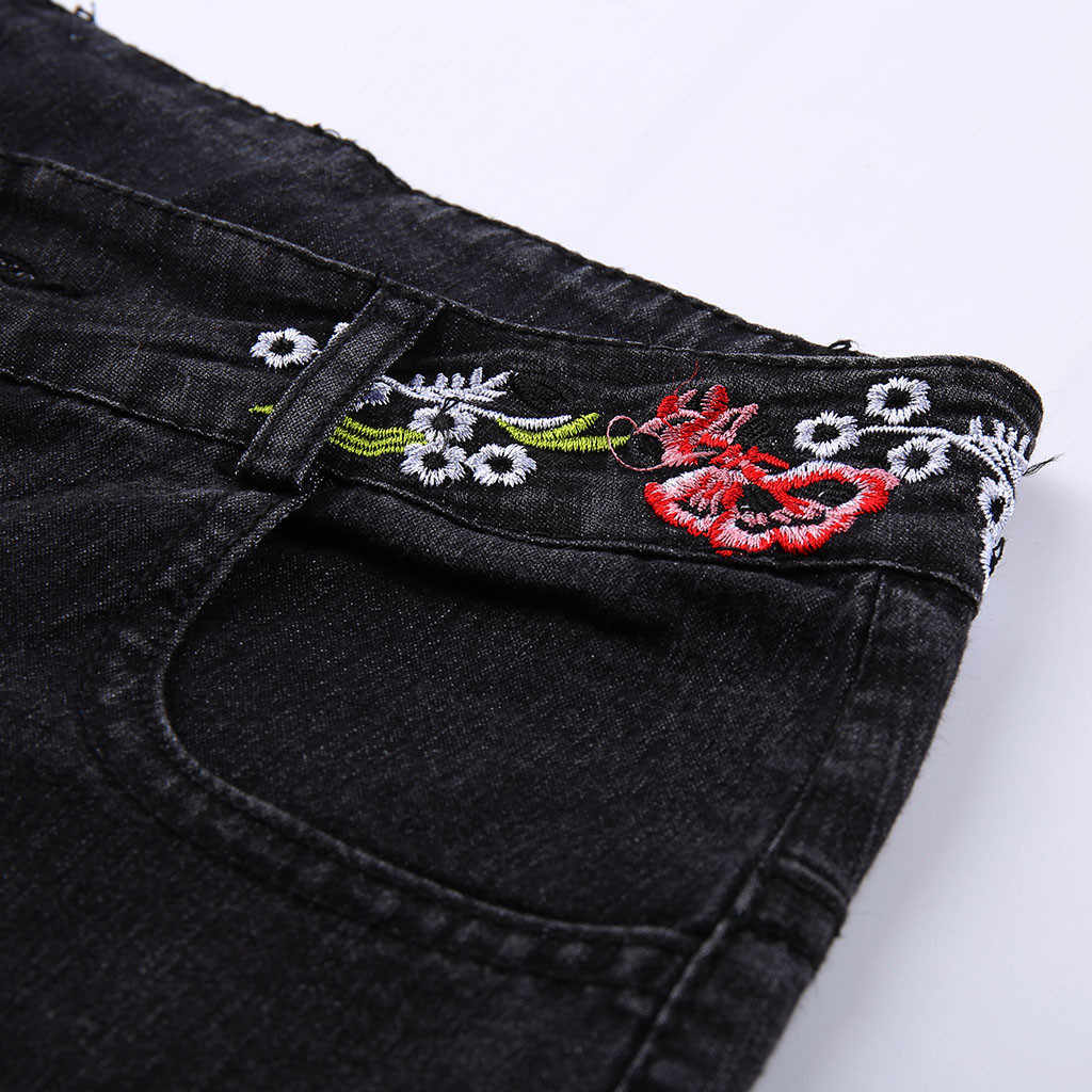 Dżinsy z szeroką nogawką spodnie damskie długie spodnie dżinsowe hafty wysokiej talii Lady eleganckie spodnie Slim Capris w stylu etnicznym stylowe