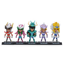 5 Pcs/Set Anime Saint Seiya Knights Mini Q OF The Zodiac Action Figure PVC Figurine Collectible Model Christmas Gift Toy 100% original bandai gashapon pvc toy figure 05 full set of 5 pcs from japan anime kamen rider
