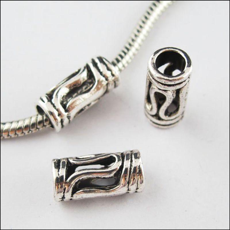 70 шт старину серебра 4,5 мм отверстие трубки разделитель бисерная Подвеска подходит браслет 7x14 мм 0954