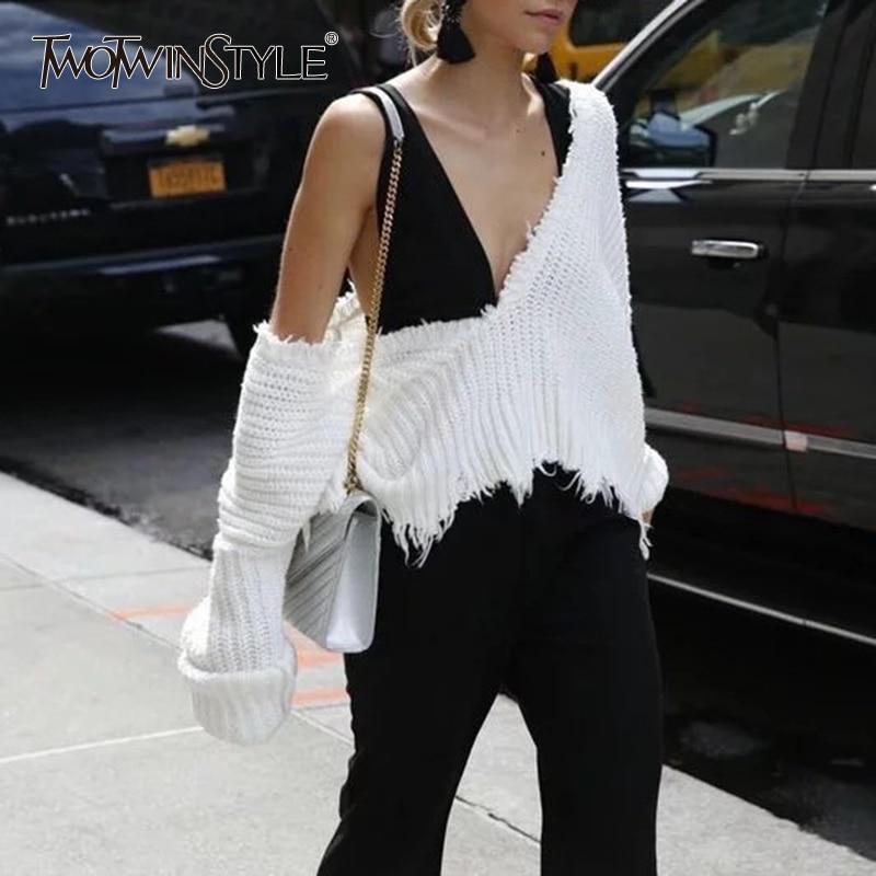 TWOTWINSTYLE Tassel White Women's Sweater Lantern Long Sleeve V Neck Pullovers Female Sweater 2020 Autumn Winter Fashion New