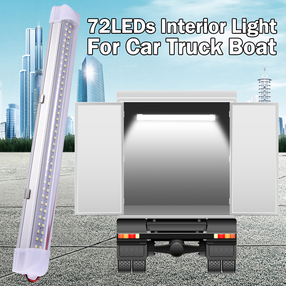 13.5 Inch Car Interior Led Light Bar 5W 72 LED White Light Tube With Switch For Van Lorry Truck RV Camper Boat Ceiling Light D30
