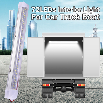 цена на 13.5 Inch Car Interior Led Light Bar 5W 72 LED White Light Tube with Switch for Van Lorry Truck RV Camper Boat Ceiling Light D30