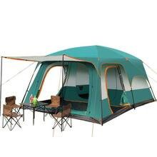 5-8 pessoas engrossadas à prova de chuva tenda de dois quartos e uma sala de lazer acampamento de dois andares