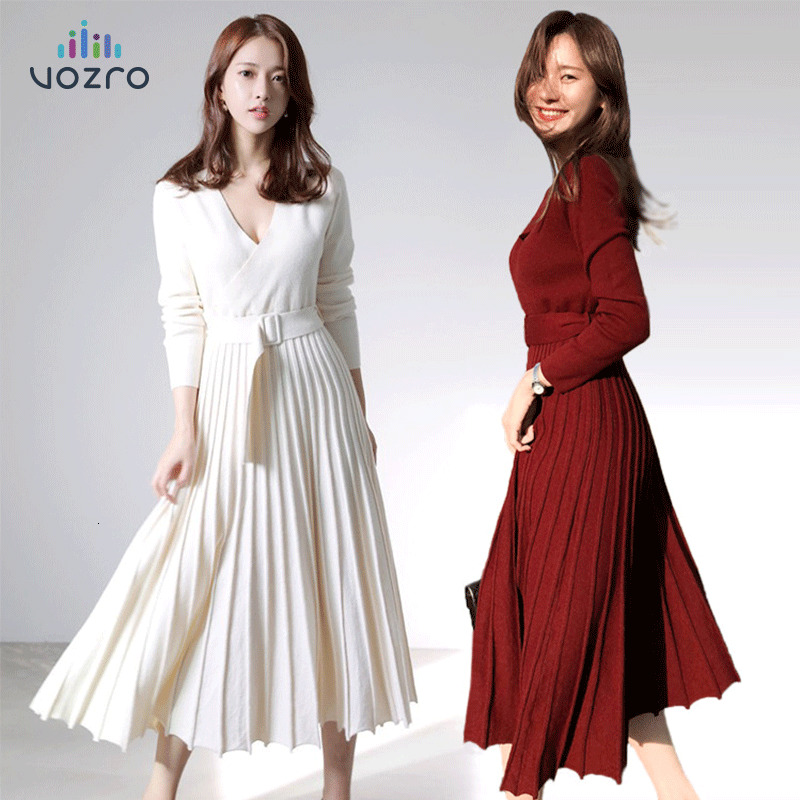 VOZRO Small Grace Thickening Knitting Exceed Skinny Winter Party Dress Woman Long Fund Overknee Sweater Skirt Vestidos Dresses
