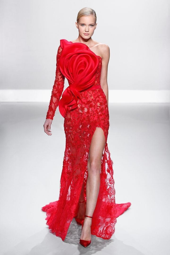 New Design Evening Mermaid Lace Long Sleeve Split Side Red Formal Gown Vestido De Festa Longo 2018 Mother Of The Bride Dresses