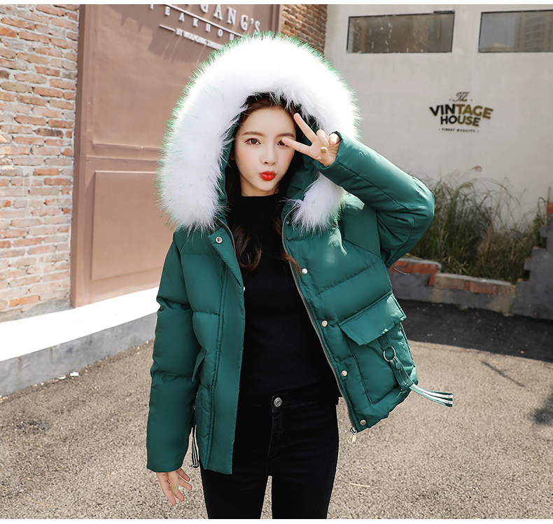 Short Cotton Padded Down Jacket Women New Fashion Padded Fur Hooded Coat Big Size Giubbotto Donna Women Winter Parka Fur HH50MF
