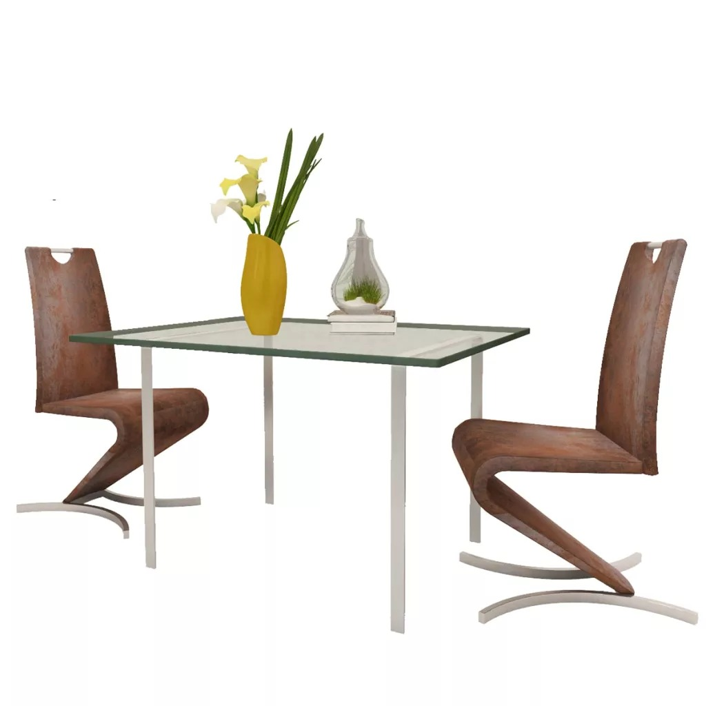 VidaXL Dining Room Chair 2pcs H Shape Synthetic Leather Brown 241300