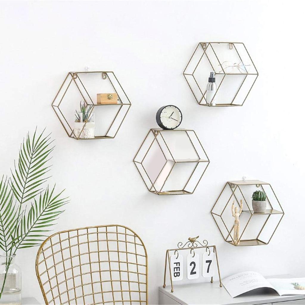 Hexagonal Geometric Storage Frame Iron Grids Wall Shelf Storage Hanging Decor