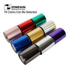 Zonesun 8cm rolls folha quente que carimba o papel de transferência térmica anodizado dourado para o ofício de carimbo quente da folha da carteira do plutônio de couro