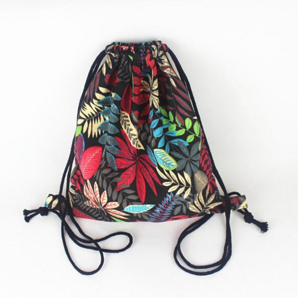 Women Drawstring Backpack Rucksack Sack Bag Summer Leaf Pattern Oxford String Shoulder Bags Student Vintage School Bag