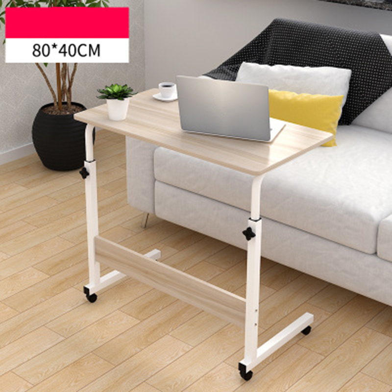 Adjustable Computer Desk Simple Mobile Lifting Laptop Table With Wheels Wood Laptop Table Beside Bed Sofa