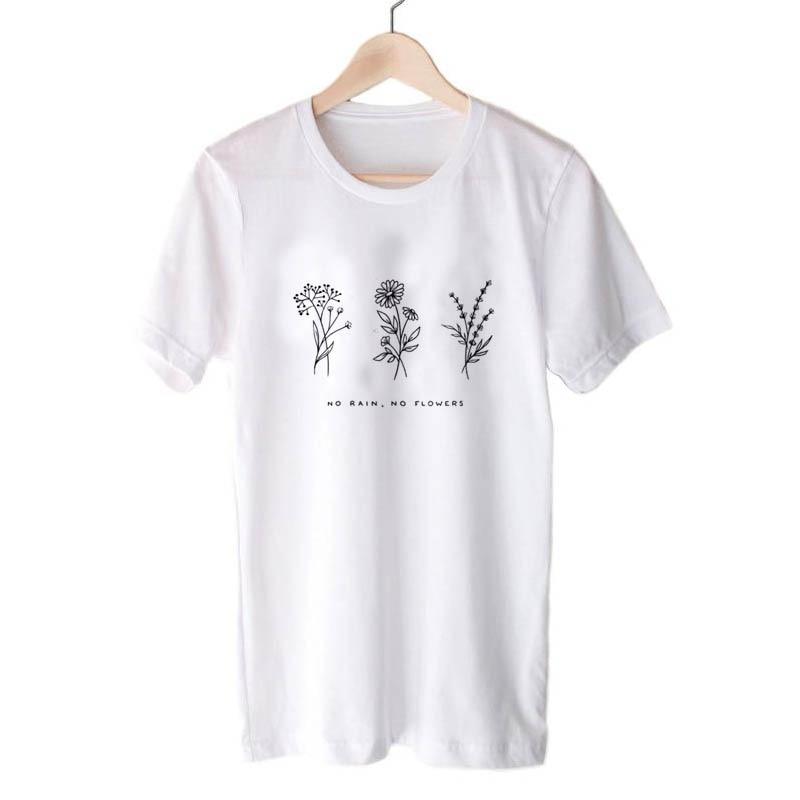 Harajuku No Rain No Flowers T Shirt Women Harajuku Garden Farm T-shirt White Soft Ringspun Tee In  Girls Ladies Clothing 5