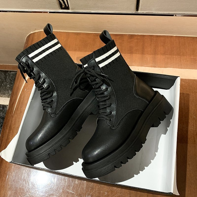 Women Combat Boots 2020 Autumn Platform Gothic Shoes Warm Short Sock Boots Women Fashion Black Stretch Cloth Ankle Boots