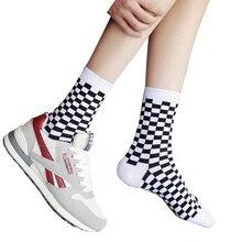 8 PCS=4Pairs Fashion Harajuku style men street cotton socks hip hop skateboard unisex fun plaid checkerboard happy