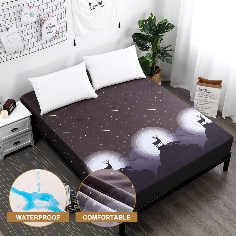 MECEROCK Soft Mattress Protector Waterproof Mattress Covers Popular Pattern Printing Cover for Bed 160X200CM Breathable