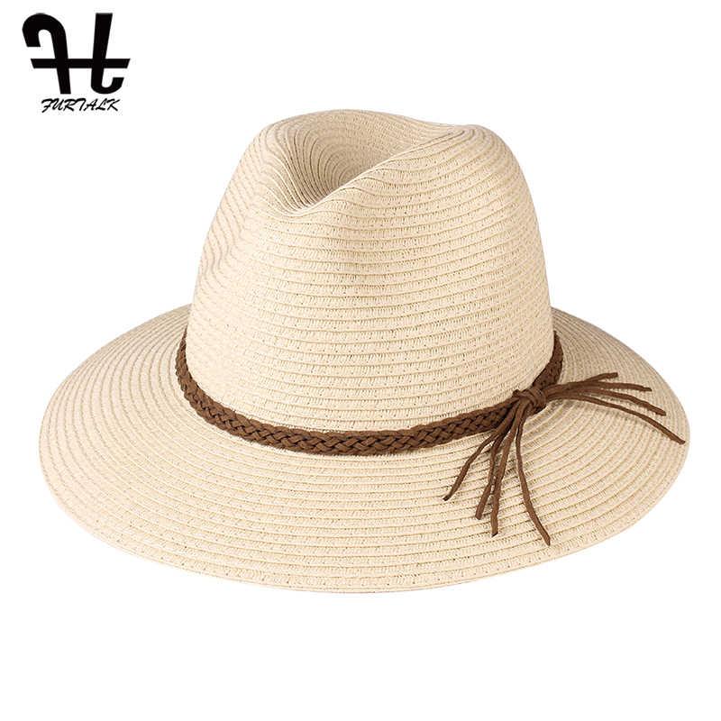 Furtalk Musim Panas Topi untuk Wanita Jerami Topi Pantai Panama Topi Fedora Ember Topi untuk Wanita Musim Panas Pantai UV Cap chapeau Femme