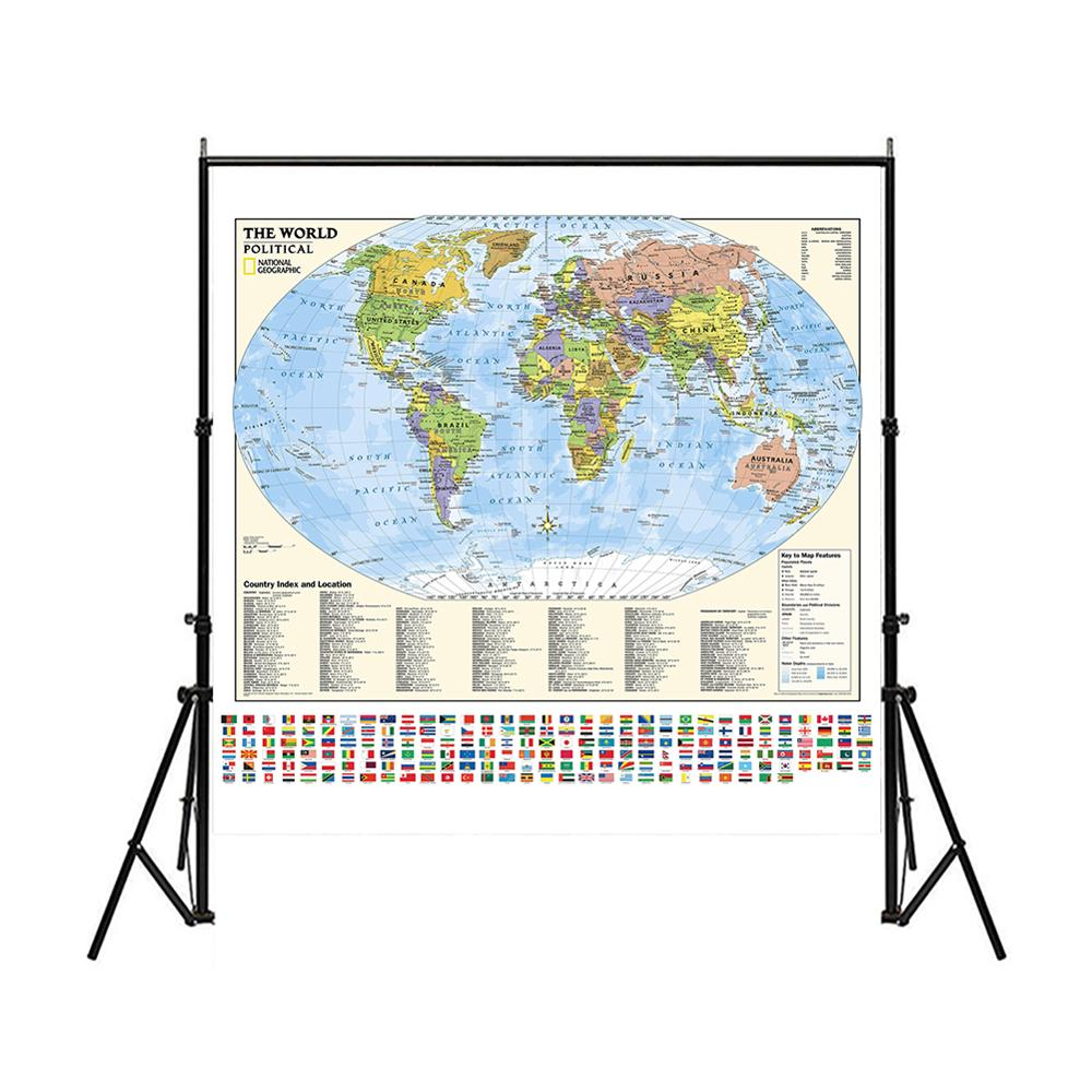 150x150cm Non-woven World Map With Flags And Country Index And Location For Culture And Education