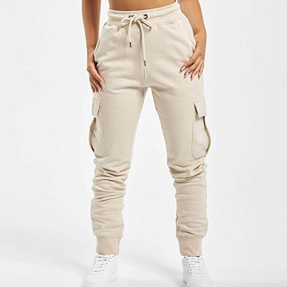 2020 New Autumn Women Lace Up Waist Casual Pants Solid Pencil Pants Multi-Pockets Plus Size Straight Slim Fit Trousers