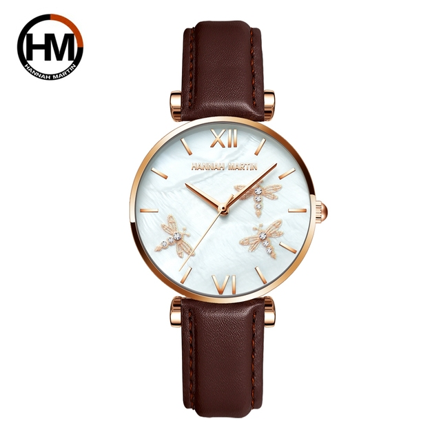 2021 novo design japão akoya pérola concha libélula senhoras luxo diamantes vieira relógios de aço inoxidável para mulher transporte da gota 5