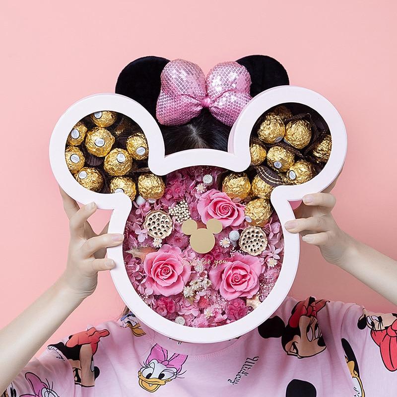 1Pcs/lot Wedding Party Anniversary 34x29cm Sweet Candy Box Minnie Gift Box Kids Girls Boys Love Birthday