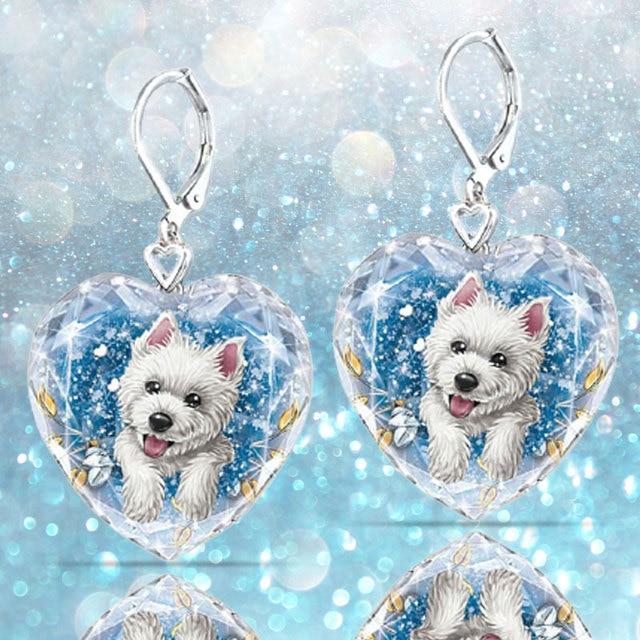 Dog Heart Crystal  Earrings 4