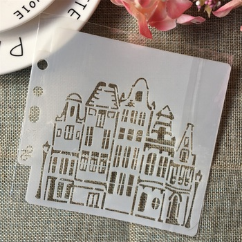 5 1 House Building Street DIY Layering Stencils Painting Scrapbook Coloring Embossing Album Decorative Card